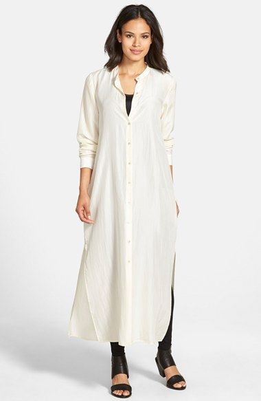 Eileen Fisher Sand Washed Habutai Silk Maxi Dress available at #Nordstrom