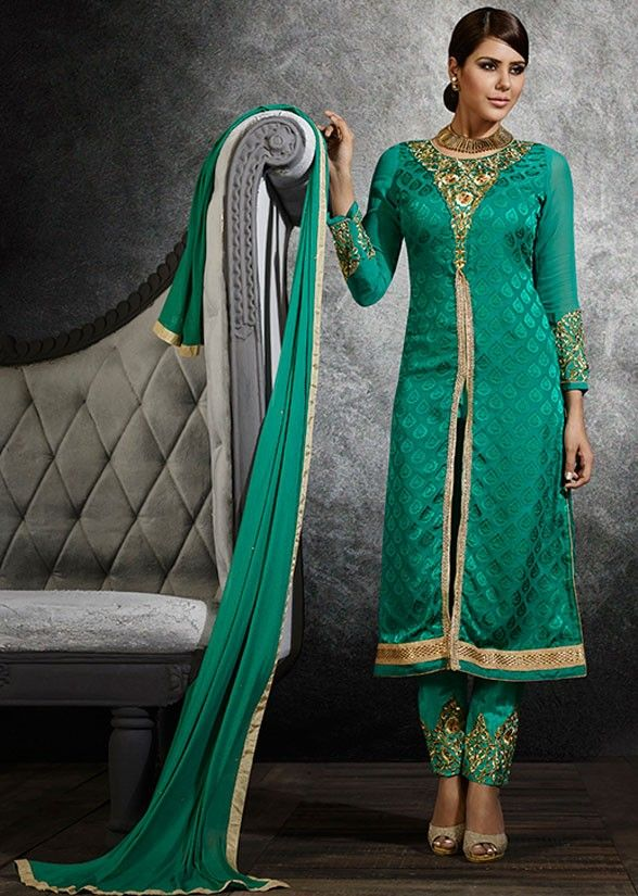 Trendy Jade Green Color Salwar Set
