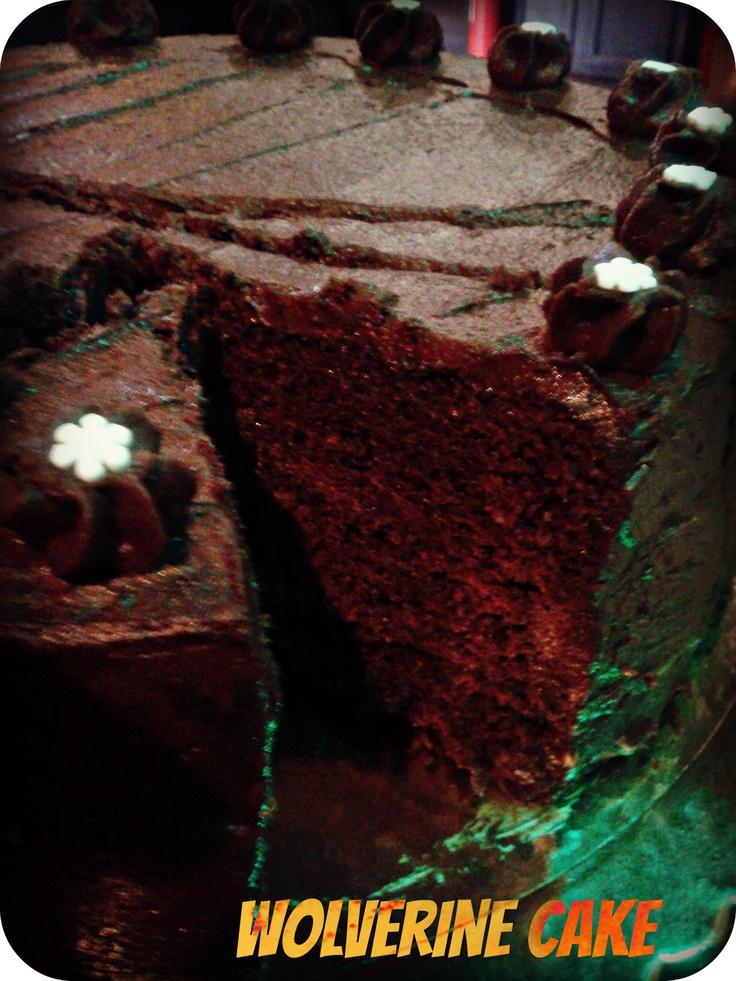 Wolverine Cake - a fiery double chocolate treat with claws! www.ibakeyourpardon.com
