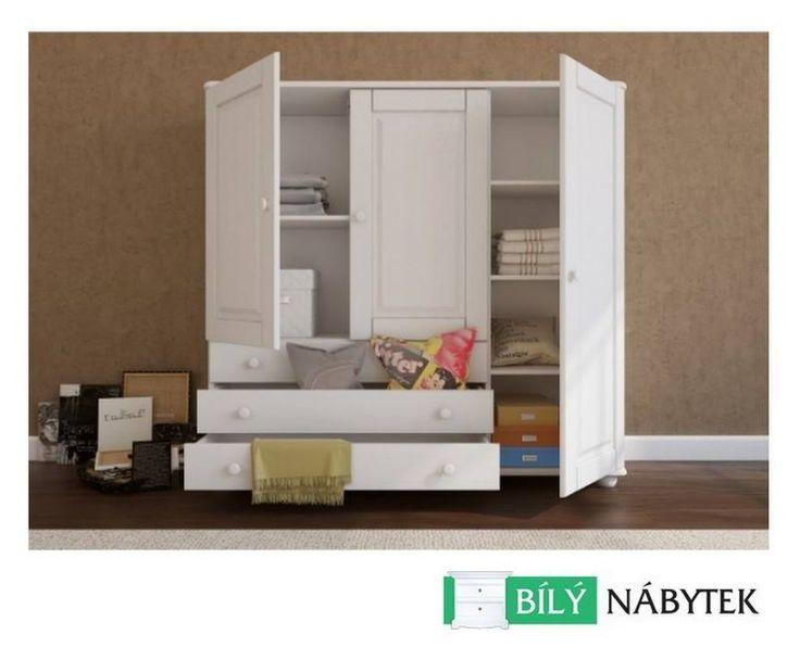 #bílýnábytek #skříně  Borovicová skříň Margit je mezi zákazníky velmi oblíbená. U vás doma může být do dvou dnů. http://www.bilynabytek.cz/detsky-nabytek/77-borovicova-skrin-margit-3d-masiv-bila-0702142497969.html