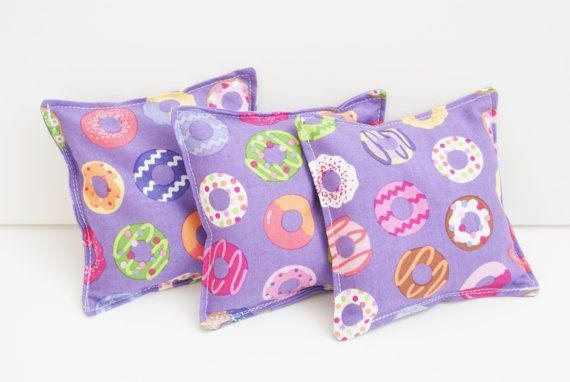 WASHABLE Bean Bags - Set of 3 - Purple Doughnut Print Bean Bags - 4 Inch - Beanbags - Birthday Gift - Donut Party Game - Purple Bean Bags