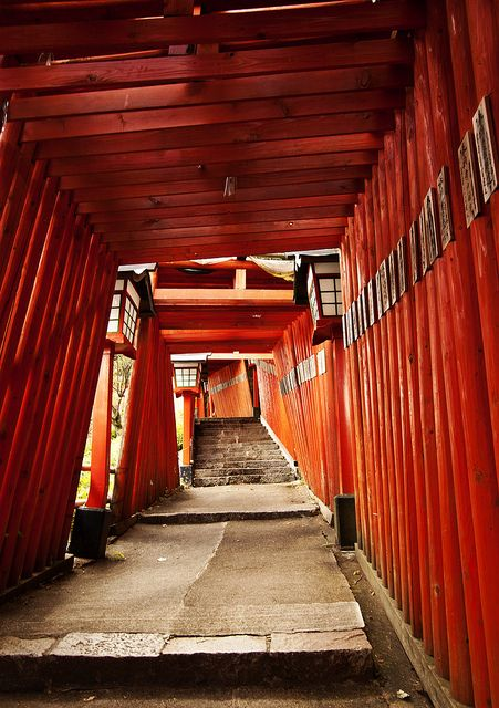Tsuwano, Shimane, Japan, red torii gate