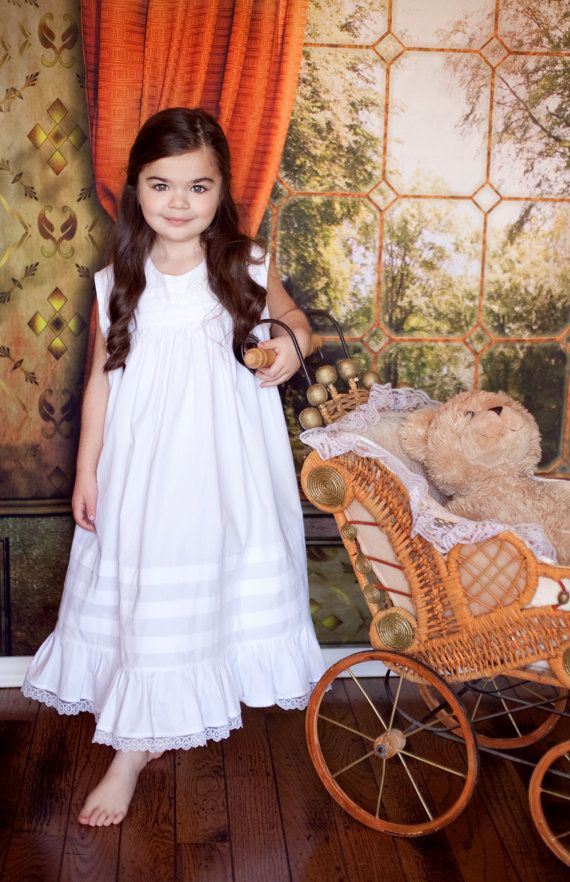 Girls White Heirloom Portrait Dress by ChewChewsCloset on Etsy, $115.00