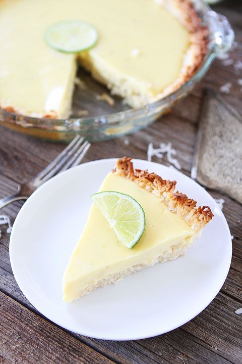 Key Lime Pie with Coconut Macaroon Crust Recipe on twopeasandtheirpod.com. Love this key lime pie recipe!