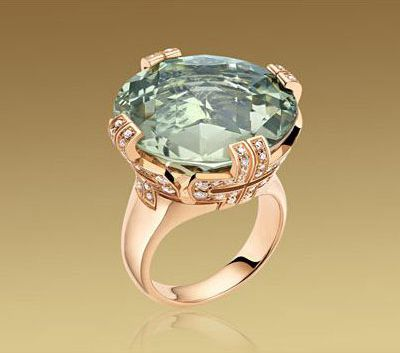 bvlgari parentesi cocktail big ring in pink gold with green quartz and pave diamonds
