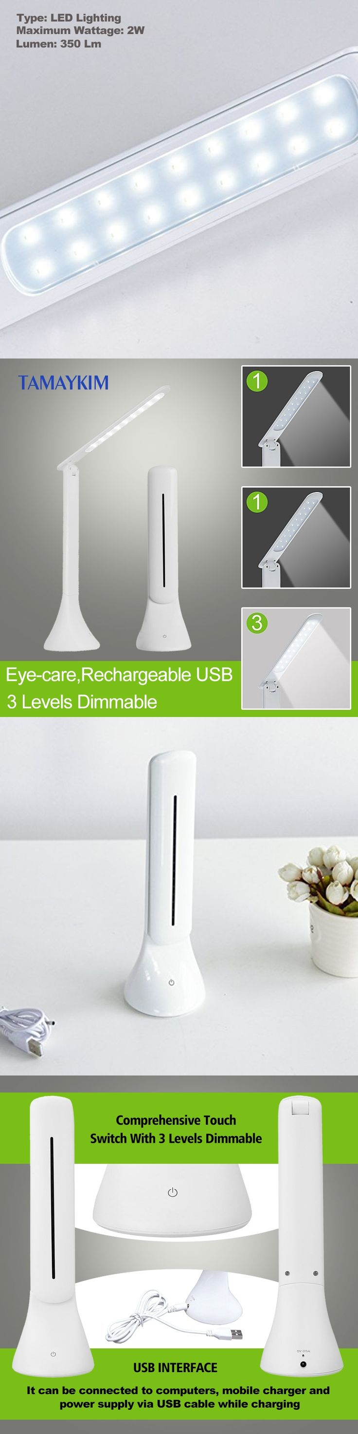 Rechargeable USB Portable Folding Eye-care LED Bedroom Desk Lamp,3 Level Dimmable,Touch Sensitive Control Panel,Cool White Light