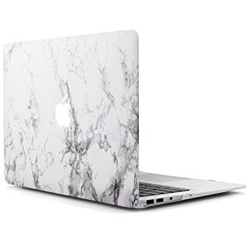 iDOO Hard Case for MacBook Air 13 inch Model A1369 / A1466 - Matte Plastic Frosted Rubber Coated Protective Shell Cover White Marble