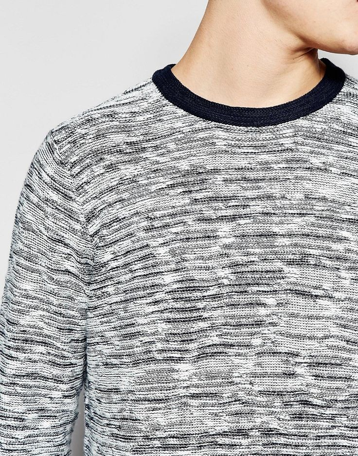 Image 3 ofBellfield Knitted Jumper with Stripe Weave