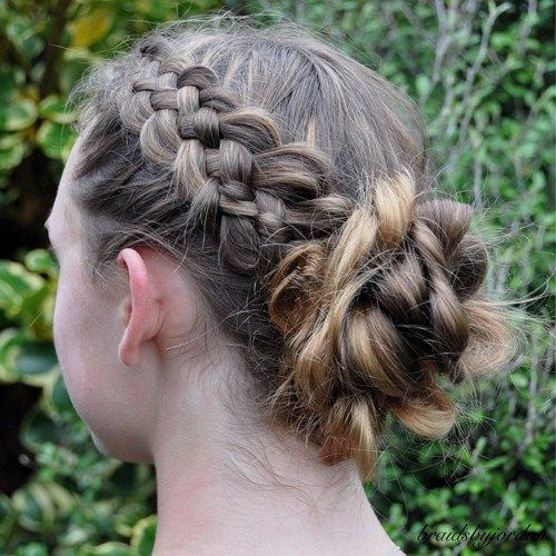 messy+braid+and+bun+updo+for+girls