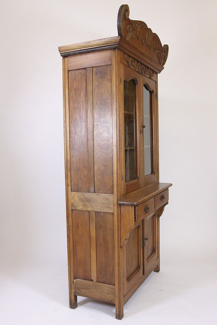 Antique Oak Step Back Cupboard China Cabinet With Decorative Crown Furniture from RoofTop Antiques