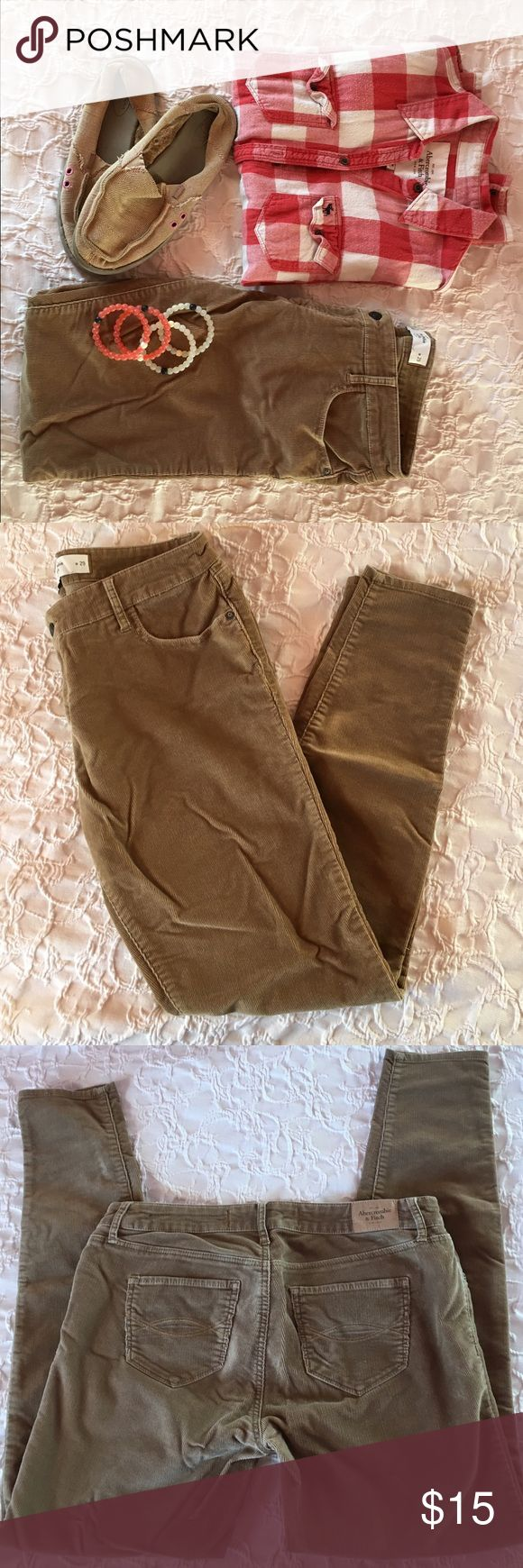 Tan Abercrombie jeans Tan/light brown preloved corduroy jeggings. Super cute with any outfit! In great condition Abercrombie & Fitch Jeans Skinny