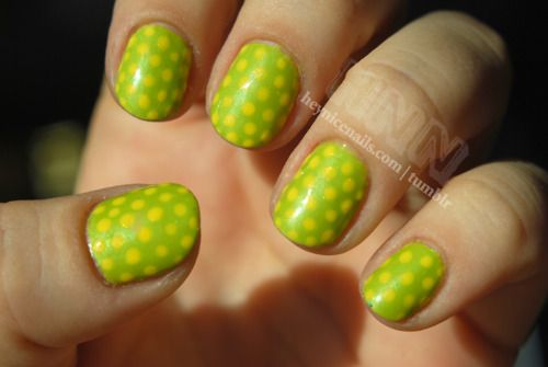 I loooooove this manicure. I wish I was better at dots.  Illamasqua Radium with Chanel Mimosa polka dots!Chanel Mimosas, Nails Art, Polka Dots, Polka Dottie, Acid Green, Nails Dots, Green Polka, Dots Nails, Green Dots