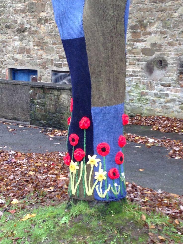 Yarn bomb poppy tree by Gina