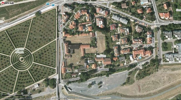 Aerial view of the castle gardens, and the collection of houses close to the river