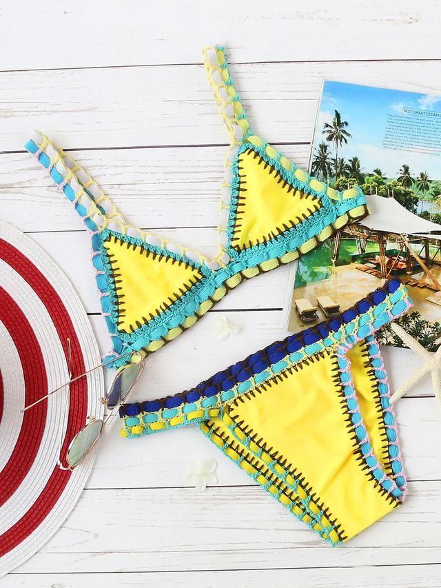 Crochet Trim Triangle Beach Bikini Set
