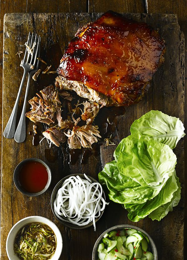 This is a great way to serve a big crowd of people – get all the accompaniments ready and let everyone dig in and make their own lettuce wraps. Cook the pork a day ahead if you like, then glaze and reheat to serve – just make sure it's piping hot all the way through.