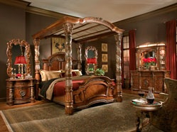 Max Furniture Marcus Aemilius King Canopy Bed The Bedroom Collection brings elements of style and sophistication to every room of your home. Traditional styling gives way to Old World elegance with its generous use of marble and eloquent carvings. http://www.maxfurniture.com/detail---Marcus-Aemilius-King-Canopy-Bed-0-31549.aspx