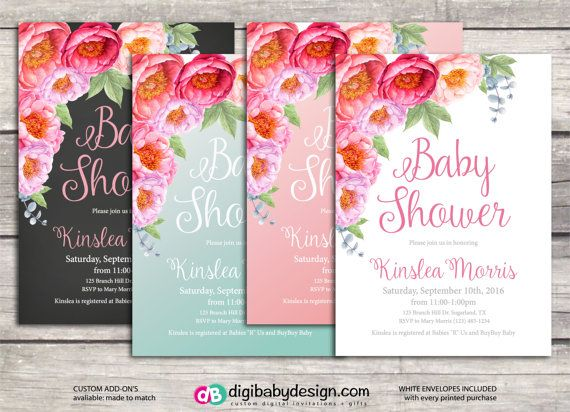 Watercolor floral romantic baby girl baby shower by DigiBabyDesign #babyshower #invitations #itsagirl #floral #romantic