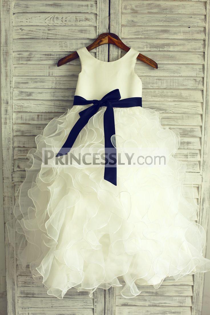 Ruffled Flower Girl Dresses Navy Blue