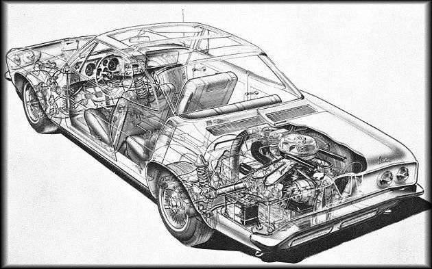 1965 Corvair Corsa sport coupe cutaway view
