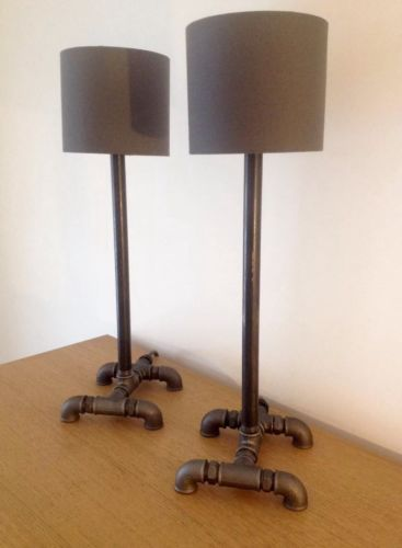 Handmade industrial retro two gas pipe bedside desk for Gas pipe desk lamp