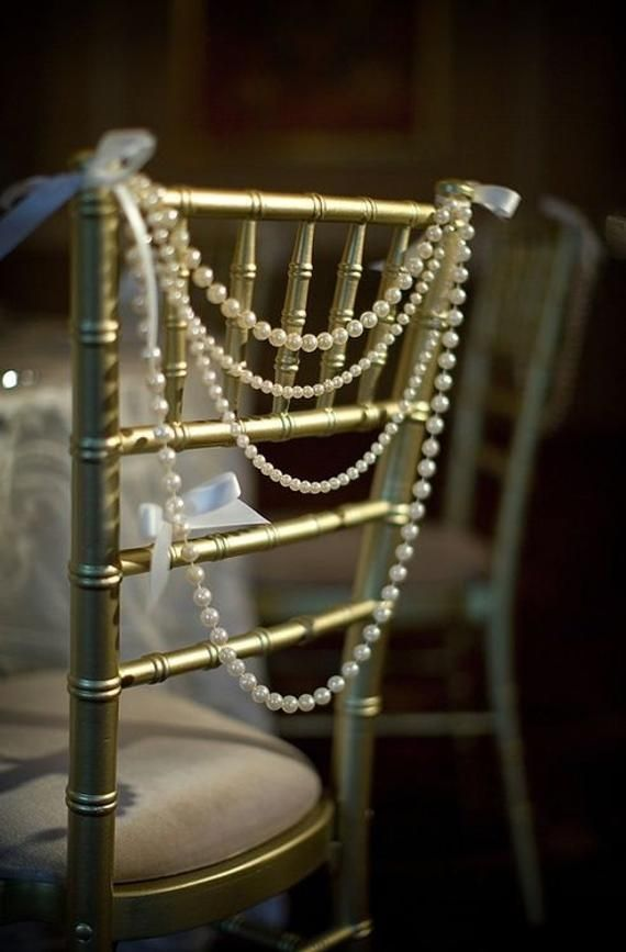 Classy Ivory Pearl Garland Bride Groom Head Chair Reception Chiavari Backing Swag Wedding Day Shower