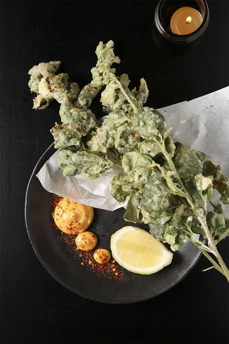 Check out the tempura saltbush. Whole branches of the scrubby plant are deep-fried and served with a cheek of lemon. Pluck the tender velvety leaves and run them through a side of spicy mayo.