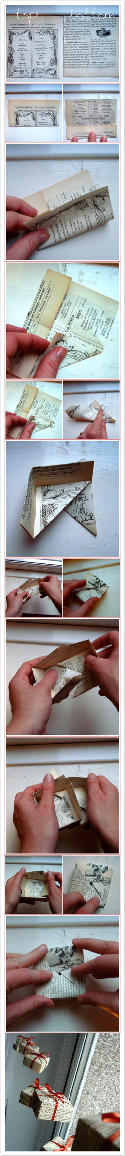 Paper box from book page