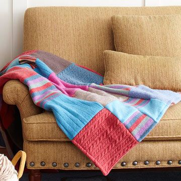 Felted Sweater Throw - an easy craft using old sweaters and a flannel sheet.