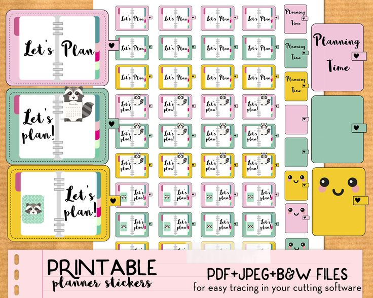 Free 44 planning time printable stickers for your planner: 5 different stickers designs! Free Printable planner stickers