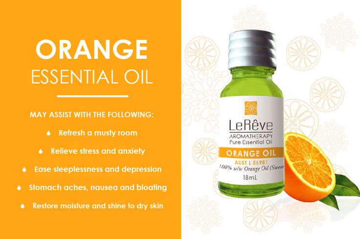 Orange essential oil may assist with the following: refresh a musty room, relieve stress and anxiety, ease sleeplessness and depression, stomach aches, nausea and bloating, restore moisture and shine to dry skin. All Le Reve essential oils are listed on the Australian Register of Therapeutic Goods (ARTG). Available at http://www.lereve.com.au/aroma/Mix-Your-Own and http://www.aromatherapy.net.au/mix-your-own/?cat=pure-essential-oils