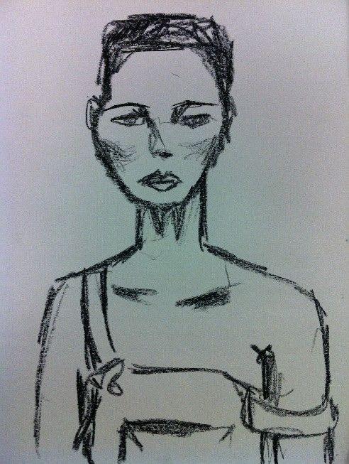 Woman black oil chalk