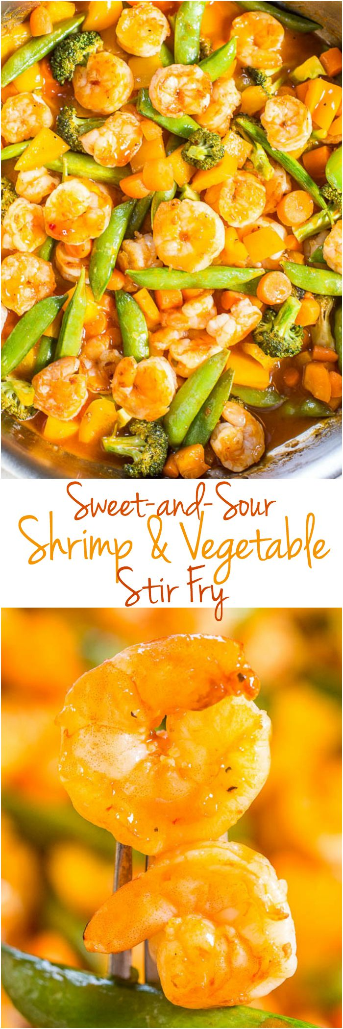 Sweet-and-Sour Shrimp and Vegetable Stir Fry - Big juicy shrimp and crunchy veggies coated in tangy sauce are a hit with everyone!! Easy, healthy, ready in 20 minutes, and way better than takeout!! Great for #CincoDeMayo !
