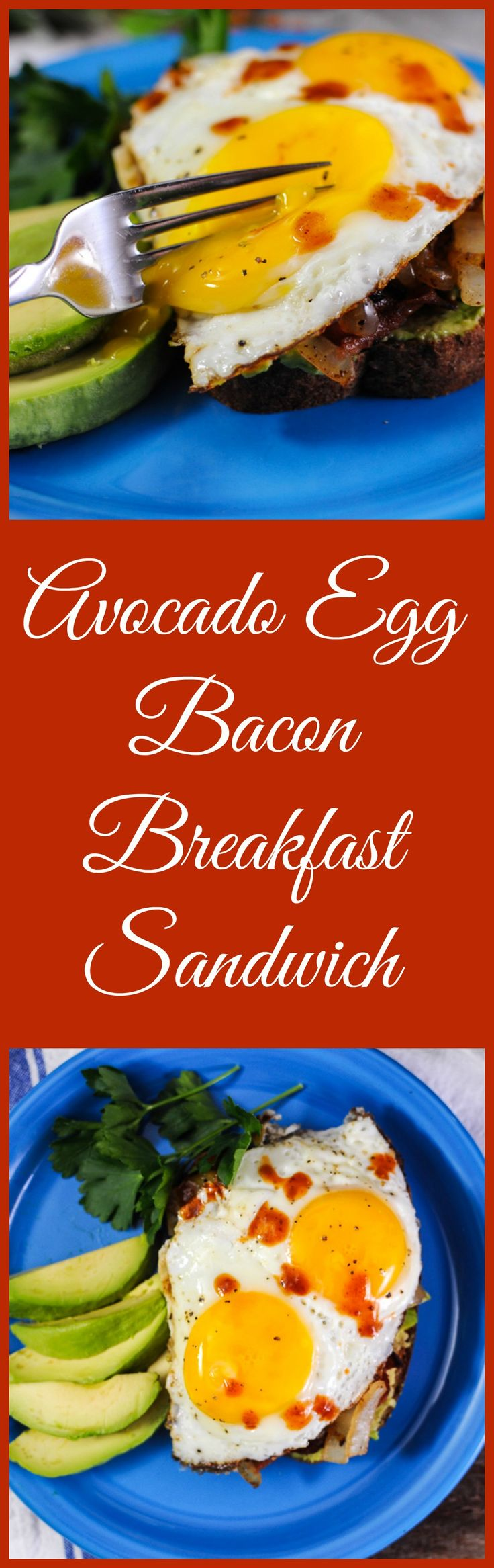 Need a great breakfast sandwich? Here's an avocado, egg, bacon, onion and hot sauce toast for you!