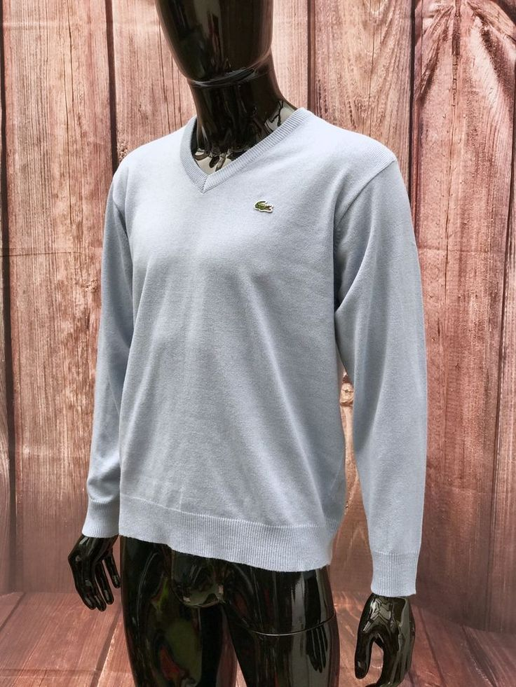 Lacoste Jumper sky Blue Men's Top Casual Wear V Neck knitted medium smart wear