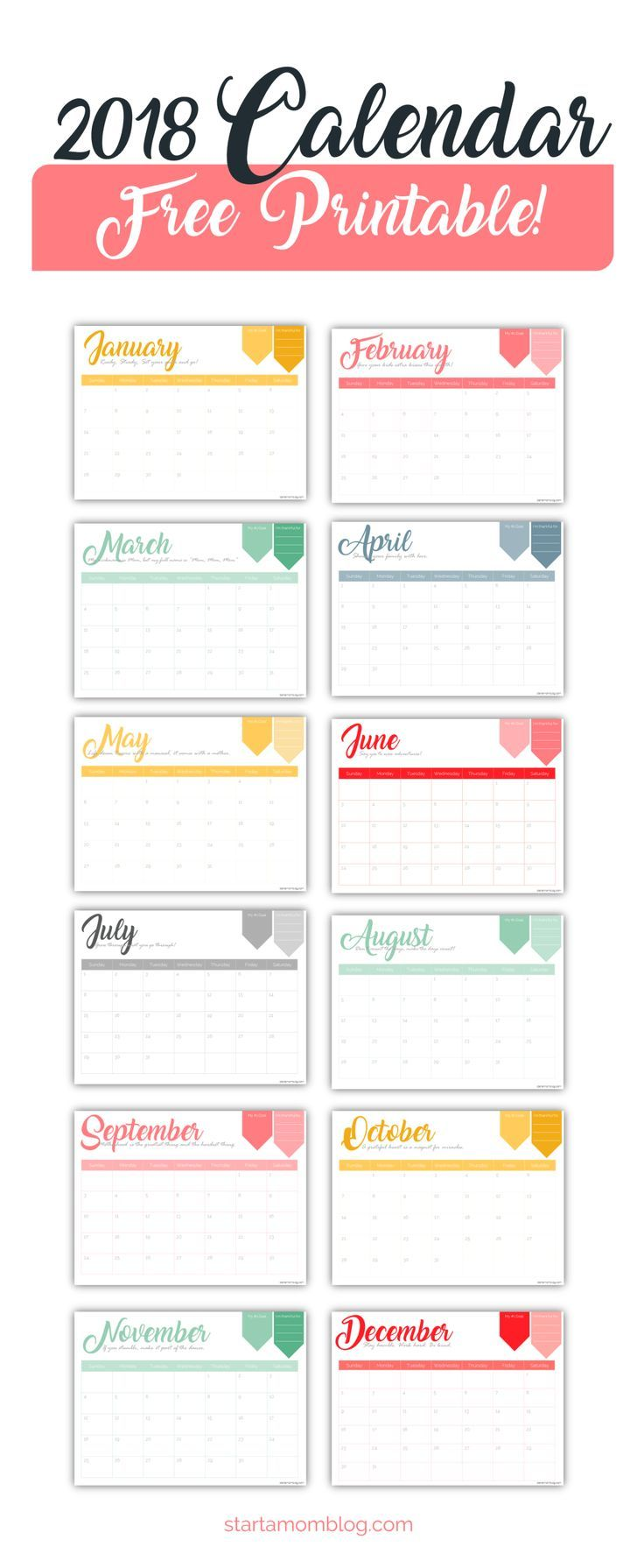 2018 Free Calendar Printable with Inspirational Quotes for Moms