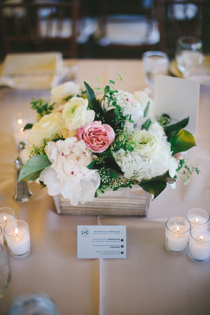 Wedding Centerpieces. Wooden box, with flowers, and candles around it. Perfect.