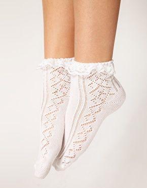 Image 2 ofASOS Crochet Lace Frill Socks
