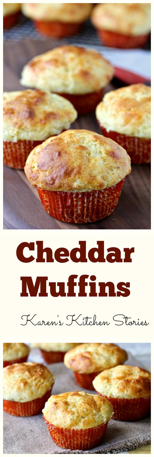 These cheddar muffins are loaded with cheese and flavored with shallots, just a bit of cornmeal, Dijon mustard, freshly ground black pepper, and Tabasco sauce. They have just the right amount of kick.