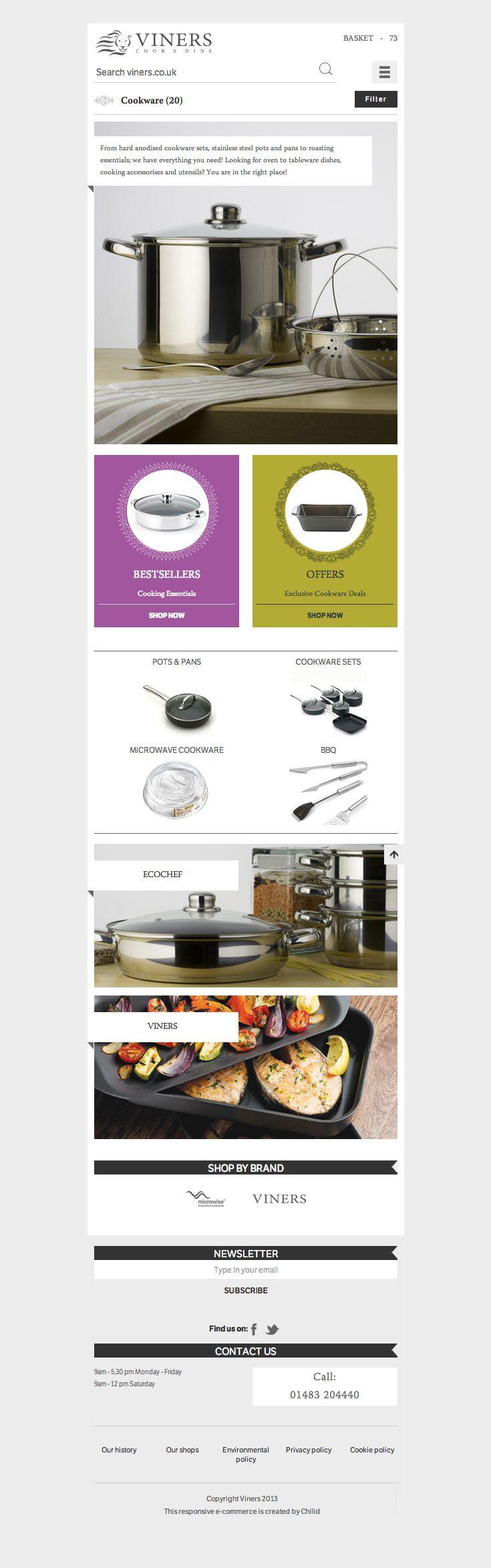 Viners Oneida Ltd / The Main Category Page – impressive heritage of Oneida Ltd. brands – responsive e-commerce website www.viners.co.uk/