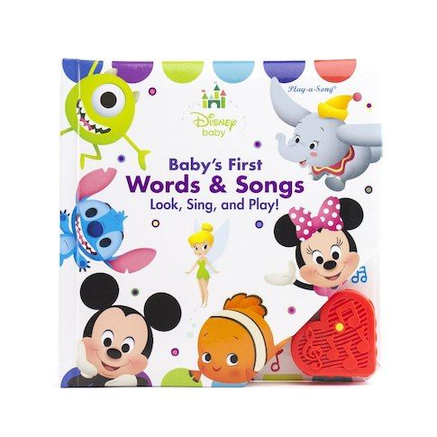 """Disney Baby """"Baby' s First Words and Songs Look, Sing and Play!"""" Sound Book. Enjoy sweet images and first words themed to these classic songs: The Itsy Bitsy Spider; One, Two, Buckle My Shoe and Twinkle, Twinkle, Little Star. Introduce Baby to Mickey Mouse, Minnie Mouse, Nemo, Stitch, Mike Wazowski, Dumbo and other first Disney friends. Features a heart-shaped sound box baby can press to go with the book. #DisneyBaby"""