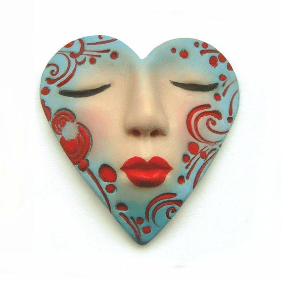 Love this.: Turquoise Blue, Valentines Red And Turquoise, Heart Faces, Faces Heart, Heart Valentines, Red Heart, Kiss Heart, Enamels Heart, Art Dolls