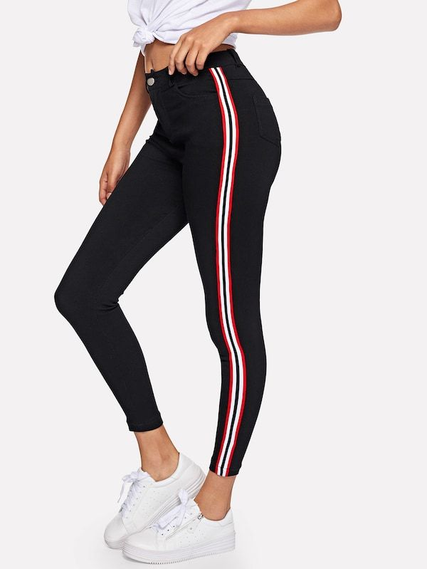 Jeans Avec Ruban Raye French Shein Sheinside Pantalones De Moda Ropa Juvenil De Moda Pantalones De Mezclilla Mujer
