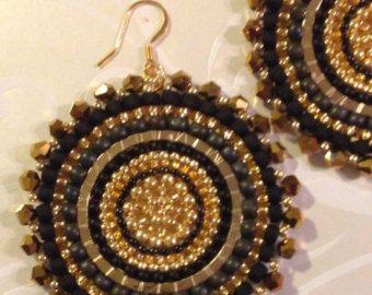 Seed Bead Earrings Colorful Disc Earrings Turquoise Sand