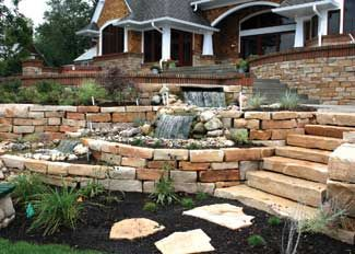 Retaining Wall With Integrated Multi Level Waterfall