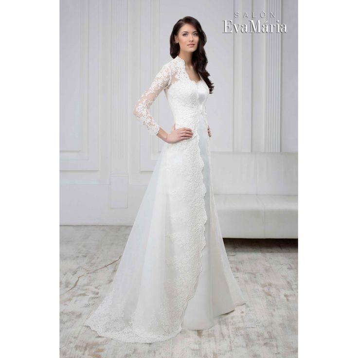 Svadobné krajkované šaty s dlhým rukávom a vlečkou Sheina