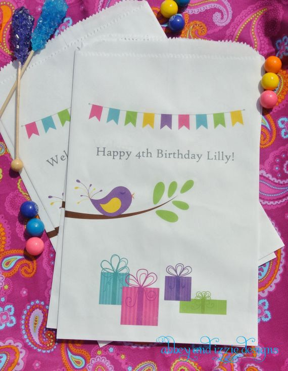 Birthday Favor Bags by abbey and izzie designs on Etsy #candybags, #birdparty, #candybuffetbags