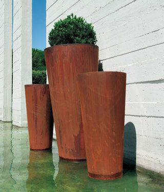 Boxwood (Buxus sempervirens) in corten steel planters