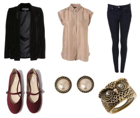 How to Wear a Velvet Blazer:  classic velvet blazer and created an outfit that would be appropriate for class. Pair the blazer with afemininesilk blouse and some classic dark-wash jeans. Next, add a pop of color with some cute Mary Jane flats. Accessorize with some understated jewelry, like these stud earrings and owl-shaped ring