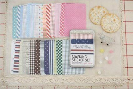 Amazon.com: ONOR-Tech 27 Sheets Lovely Decorative Adhesive Sticker Tape / Washi Masking Sticker Tape Set + Tin Case: Arts, Crafts & Sewing